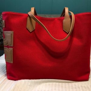 Tory Burch Red & Tan Canvas Tote
